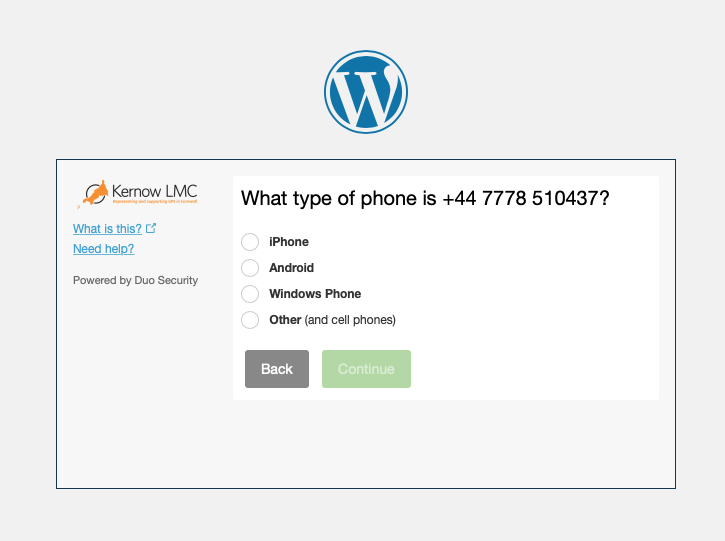 Kernow LMC Pastoral Support Two Factor Authentication Step Four Choose Platform