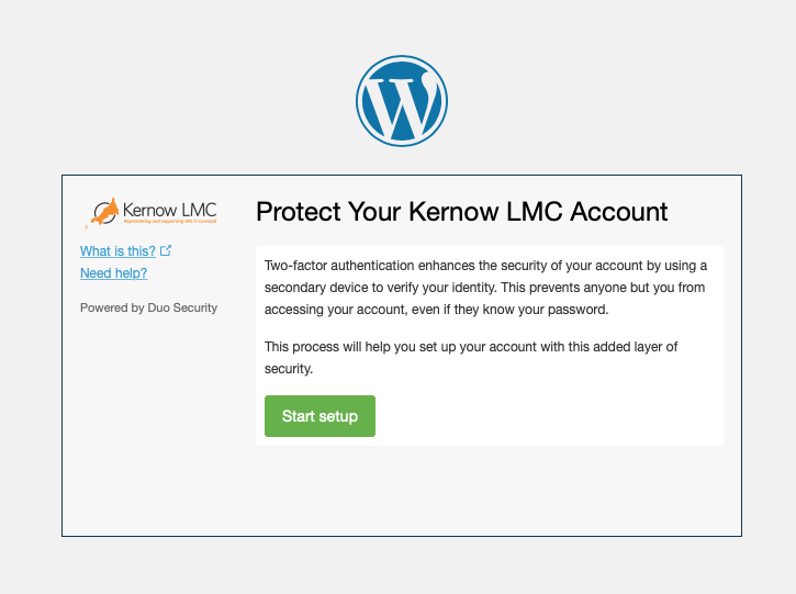 Kernow LMC Pastoral Support Two Factor Authentication Step One Welcome Screen