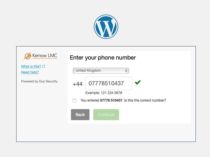 Kernow LMC Pastoral Support Two Factor Authentication Step Three Type Your Phone Number